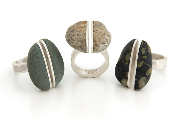 Kyuma Split Rings: beach stones, reclaimed sterling