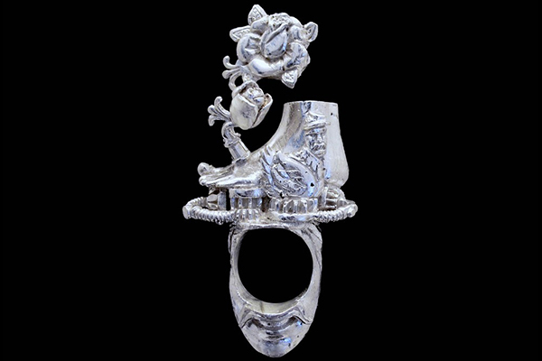 Toe Ring: Cast .925 Sterling Silver; comes with Sculpturing, Wall Hung Suspension Box, Magnifying Glass, and Signed, Numbered, Dated, Fingerprinted Documentation.