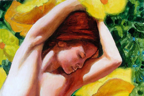 She bathes in a cascade of yellow flowers -detail